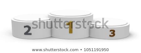 Beyaz silindir geniş podyum üç rütbe Stok fotoğraf © Oakozhan