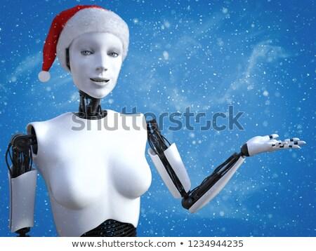 Vieren vrouwelijke robot cartoon illustratie roze Stockfoto © cthoman