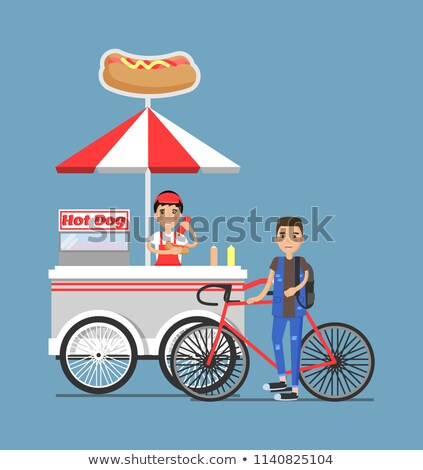 Hot-Dog Cart with Vendor in Uniform and Customer Stock photo © robuart