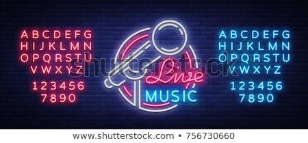 Mikrofon neon müzik tanıtım sanat radyo Stok fotoğraf © Anna_leni
