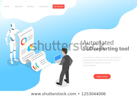 flat isometric vector landing page template of automated seo report stock photo © tarikvision