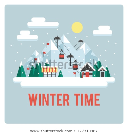 Winter sports, skiing - flat design style colorful illustration Stock photo © Decorwithme