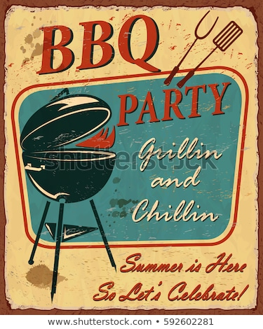 BBQ Party Posters and Icons Vector Illustration Stock photo © robuart