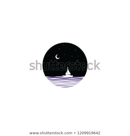 midnight scene sail boat sign symbol stock photo © vector1st