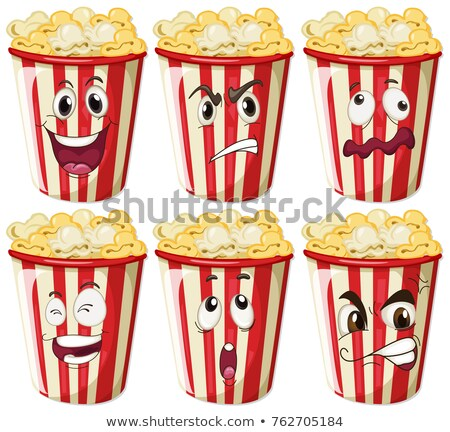 Different facial expressions on popcorn cups Stock photo © colematt