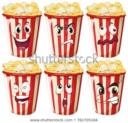 Különböző arckifejezések pattogatott kukorica csészék illusztráció arc Stock fotó © colematt