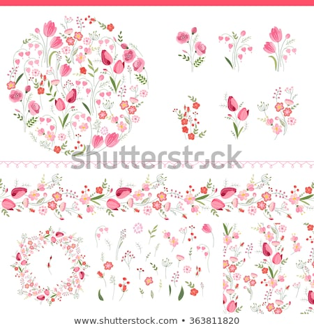 border template with pink tulip flowers stock photo © colematt