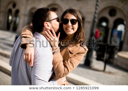 loving couple in the historical area of budapest hungary stock photo © boggy