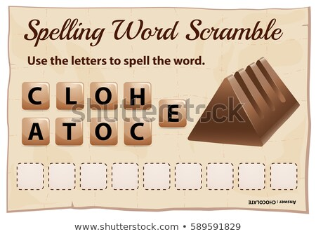 Spelling scramble game template for chocolate Stock photo © colematt
