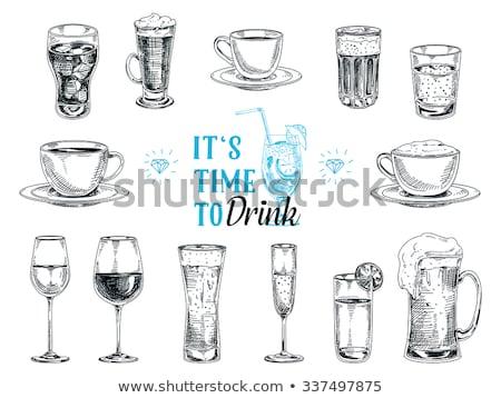 üdítőital kávéscsésze hideg forró italok szalmaszál Stock fotó © robuart