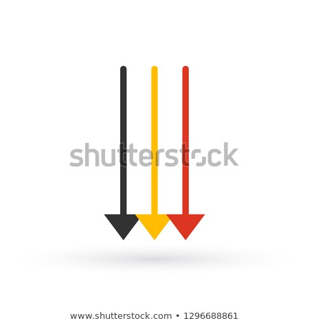 Three Parallel Vertical Arrows in different colors Pointing down. vector illustration isolated on wh Stock photo © kyryloff