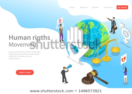 isometric flat vector landing page template of international money transfer stock photo © tarikvision