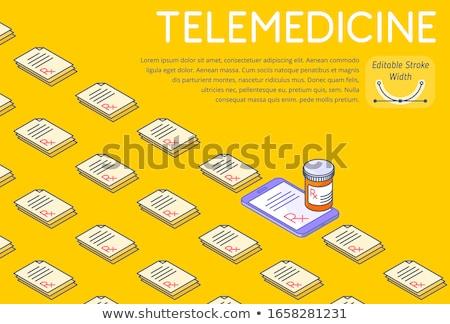 Drugs outline isometric icons pattern Stock photo © netkov1