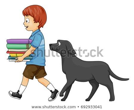 kid boy books follow dog stock photo © lenm