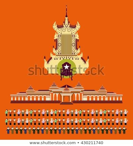 Casa bandeira Mianmar branco casas Foto stock © MikhailMishchenko