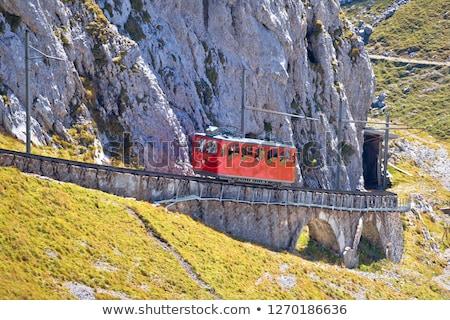 Megmászás fogaskerék vasút százalék turista tájkép Stock fotó © xbrchx