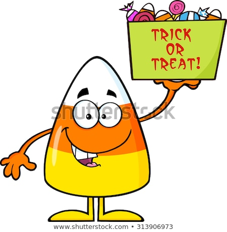 Smiling Candy Corn Cartoon Character Holds A Box With Candy And Text Stock photo © hittoon
