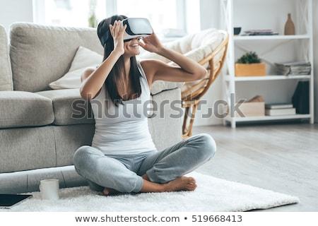 Kulaklık oda siyah beyaz sanal gerçeklik Stok fotoğraf © make