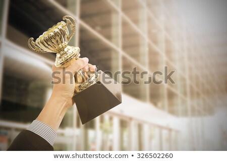 男 祝う 勝利 トロフィー カップ 手 ストックフォト © feedough