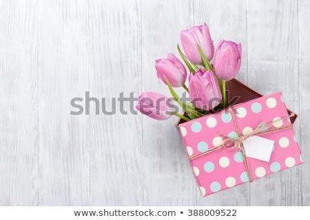Сток-фото: Purple · тюльпаны · деревянный · стол · Top · мнение