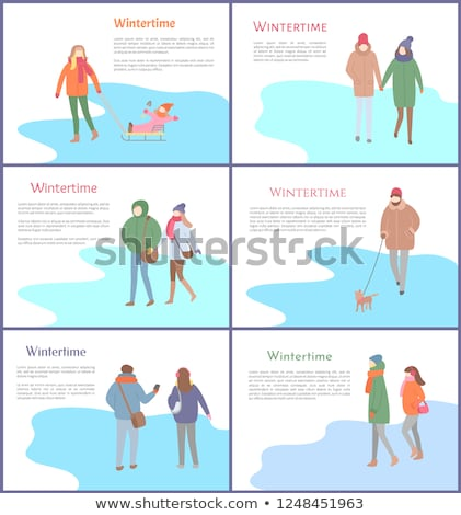 Set of Wintertime Group of People Vector Posters Stock photo © robuart