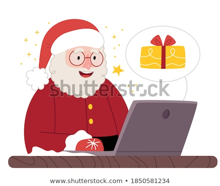 Winter Sale Poster, Woman in Santa Claus Hat, Man Stock photo © robuart