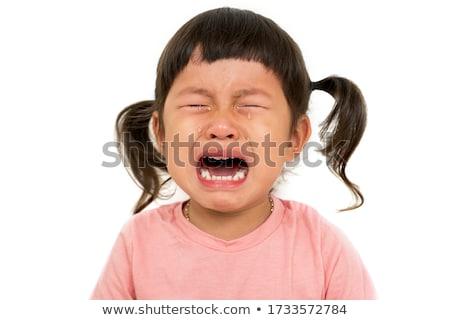 baby girl crying on white background stock photo © colematt