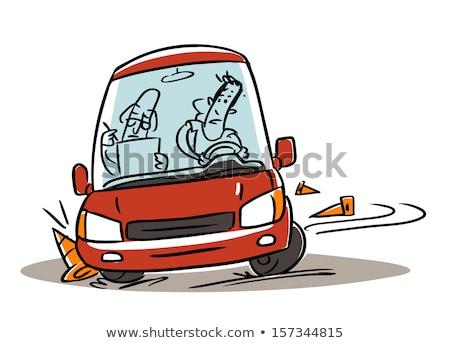 Men Driving Lesson Crashed Car Illustration Stock photo © lenm