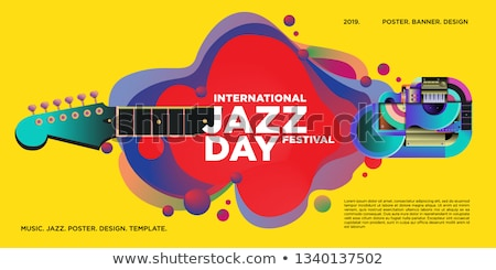 Jazz Day poster of colorful music band instruments Stock photo © cienpies