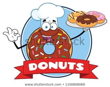 Szakács fánk rajzfilmfigura kör címke szöveg Stock fotó © hittoon