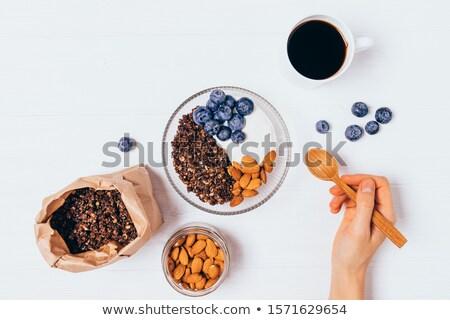 Yogurt jar cuchara de madera tela Foto stock © AndreyPopov