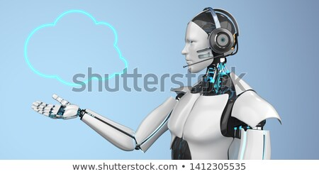 Humanoid robot felhő szövegbuborék headset 3d illusztráció Stock fotó © limbi007