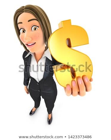 3D iş kadını altın dolar işareti örnek Stok fotoğraf © 3dmask