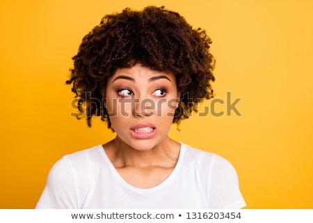Közelkép portré fiatal lány göndör haj tart hitelkártya Stock fotó © deandrobot