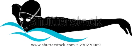 Woman Swimming Butterfly in Blue Water. Vector Stock photo © robuart