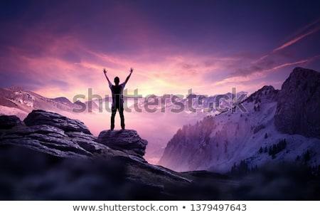Ambitie zakenman klimmen trap succes wolk Stockfoto © Lightsource