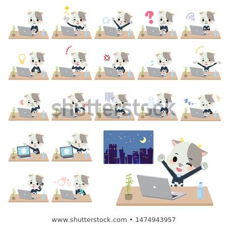animal Cow boy_desk work Stock photo © toyotoyo