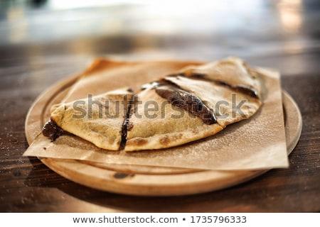 yarım · pizza · plaka · görmek · beyaz · seramik - stok fotoğraf © alex9500