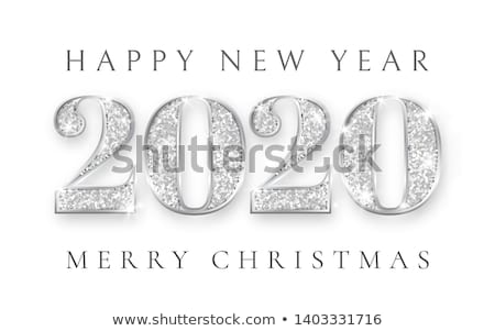 happy new year and marry christmas 2020 silver numbers design of greeting card xmas vintage gold stock photo © olehsvetiukha