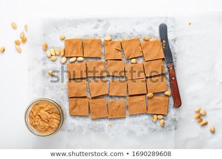 Kareler lezzetli ev yapımı fıstık ezmesi bıçak rustik Stok fotoğraf © StephanieFrey