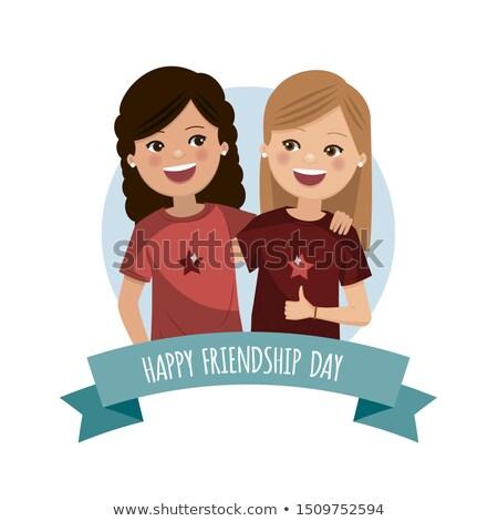 Kettő lányok barátság nap barátok örökké Stock fotó © Imaagio