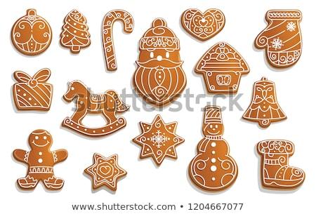 Christmas gingerbread cookies and gift box Stock photo © karandaev