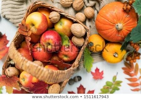 Mand Rood rijp appels pompoenen Stockfoto © pressmaster