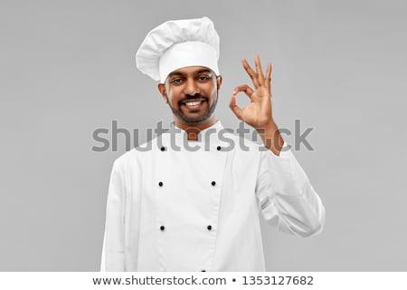 feliz · masculina · indio · chef - foto stock © dolgachov