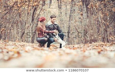 mujer · hombre · perro · otono · caminata · camino - foto stock © kzenon