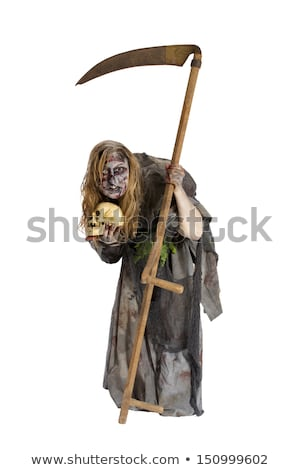 Young witch with scythe isolated on white Stock photo © Elnur