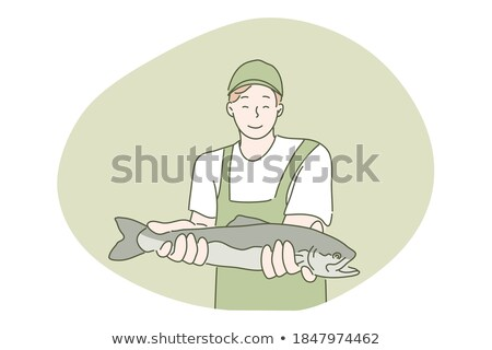 Fisherman Showing Fish on Hands Man by Lake Vector Stock photo © robuart