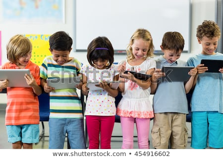 Foto stock: Frente · vista · cute · colegial · digital · tableta