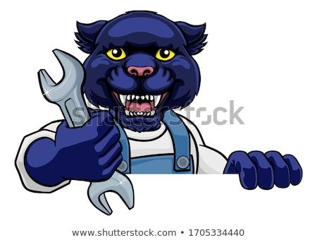 Panther талисман водопроводчика механиком мастер на все руки работник Сток-фото © Krisdog