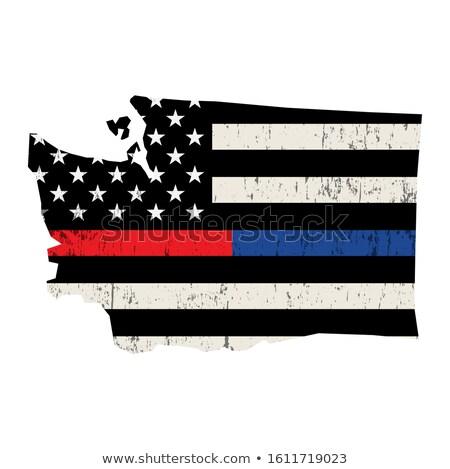 Waszyngton strażak wsparcia banderą ilustracja amerykańską flagę Zdjęcia stock © enterlinedesign